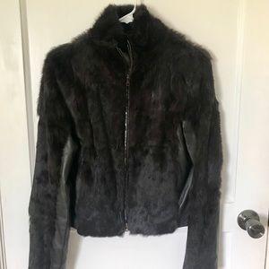 Bebe Brown Fur & Leather Coat